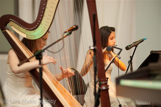 Welcoming the guests flute and harp duo | photo: livemusicagency.com
