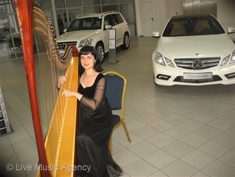 Solo harp Official dinner showroom of Mercedes-Benz | photo: livemusicagency.com